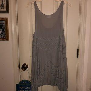 Free People Trapeze Slip Voile Tunic Dress Size L